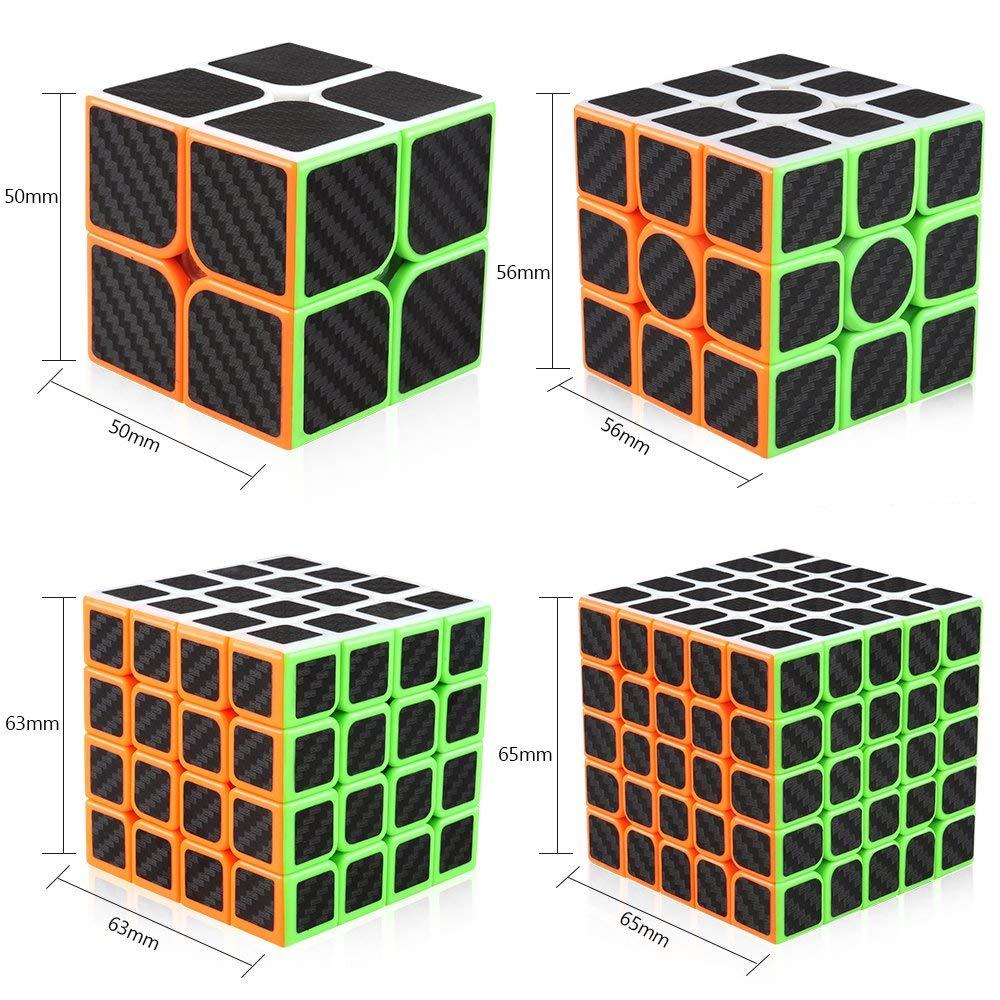 D-FantiX-Zcube-Carbon-Fiber-Speed-Cube-Bundle-Pack-2x2-3x3-4x4-5x5-Magic-Cube-Collection
