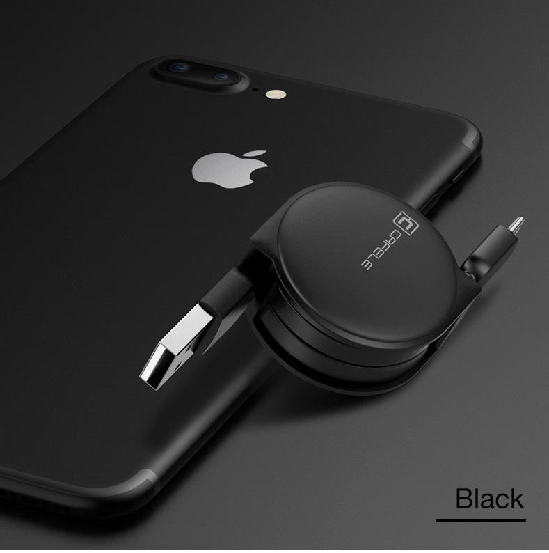 Samonavíjecí luxusní Micro USB kabel - černá