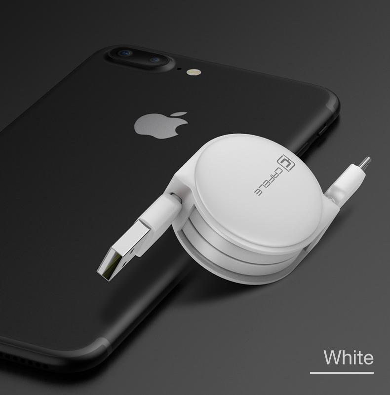 Samonavíjecí luxusní Micro USB kabel - bílá