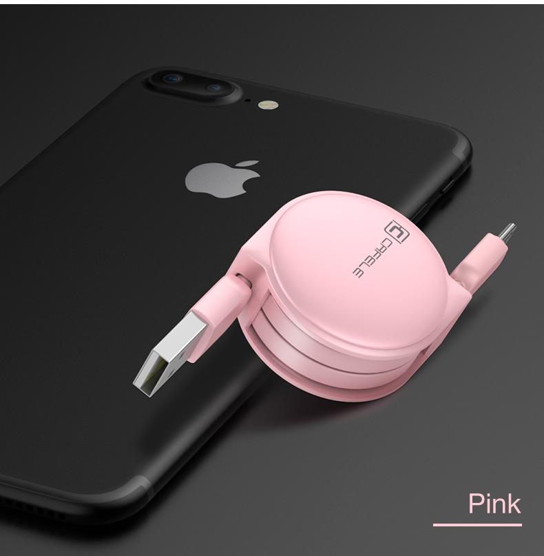 Samonavíjecí luxusní Micro USB kabel - růžová - světlá